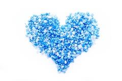 Blue salt heart Stock Images