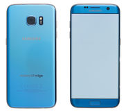 Blue Samsung Galaxy s7 edge smartphone Stock Photography