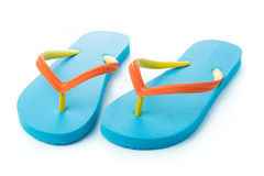 Blue sandal. Pair of blue sandal isolated on white background Royalty Free Stock Images