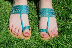 Blue Sandals. Indian blue sandals royalty free stock photos