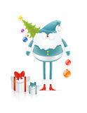 Blue Santa Claus with cristmas tree and gifts. Blue Santa Claus with cristmas tree, christmas balls and gifts (vector Royalty Free Stock Photography