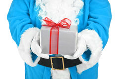 Blue santa holding present Stock Photography