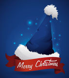 Blue Santa's Hat with Ribbon, Vector Illustration Stock Photo