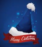 Blue Santa's Hat with Ribbon, Vector Illustration stock photo