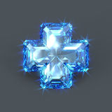 Blue sapphire cross big stone Stock Images