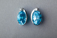 Blue sapphire earrings Royalty Free Stock Images
