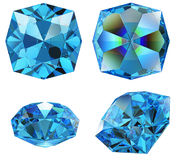 Blue sapphire gem isolated Royalty Free Stock Photography