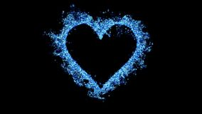 Love heart shaped Valentine`s Day blue glitter texture alpha copy space 4k stock video