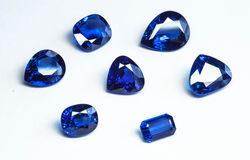 Blue sapphires. Group of blue sapphires with white background Stock Photography