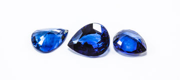 Blue sapphires. The blue sapphires on white background Royalty Free Stock Photos
