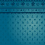Blue sari pattern. Blue indian sari background with traditional floral and elephant pattern Royalty Free Stock Photo