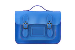 Blue Satchel. Isolated on a white background Stock Photos