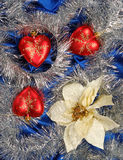 Blue sateen decoration. Blue sateen with three hearts decoration royalty free stock photos