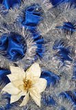 Blue sateen decoration. Blue sateen with flower decoration stock photo