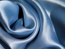 Blue satin. Blue shining satin texture, can use as background Stock Photo