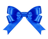 Blue satin bow. On the isolated white background Stock Image