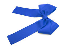 Blue satin bow. Stock Images