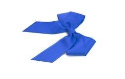 Blue satin bow. Royalty Free Stock Photography