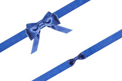 Blue satin bows and ribbons isolated - set 32 Royalty Free Stock Images