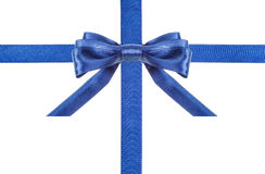 Blue satin bows and ribbons isolated - set 1 Stock Photos