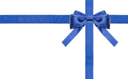 Blue satin bows and ribbons isolated - set 14 Stock Photography