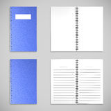 Blue satin color Cover Note Book and blank paper Royalty Free Stock Photography