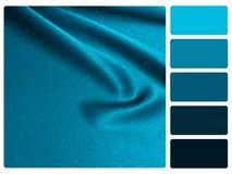 Blue satin colour palette swatch stock photo