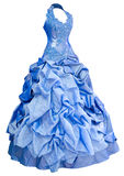 Blue satin evening dress, over white. A ladies' blue satin evening dress with a puffed skirt, clipping path Stock Image