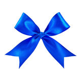 Blue satin gift bow Stock Image
