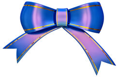 Blue satin gift bow Royalty Free Stock Photo