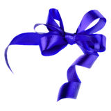 Blue satin gift bow. Ribbon. Isolated on white Royalty Free Stock Photo