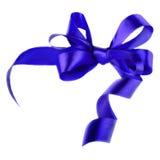 Blue satin gift bow. Ribbon. Isolated on white Royalty Free Stock Photo