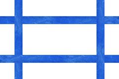 Blue satin ribbon as frame isolated on white. Background Stock Photography