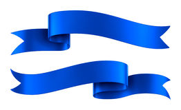 Blue Satin Ribbon Banners Isolated. Set of decorative blue ribbon banners isolated on white Stock Image