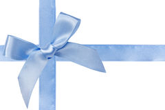 Blue satin ribbon with bow. Isolated over white background Stock Photo