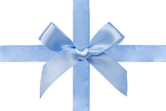 Blue satin ribbon with bow Royalty Free Stock Photos