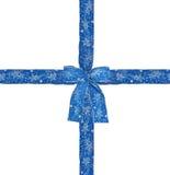 Blue satin ribbon. Shiny blue satin ribbon on white background Stock Images