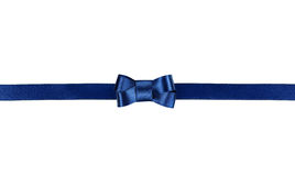 Blue satin ribbon tied in a bow isolated on white. Background Royalty Free Stock Images