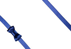 Blue satin ribbon tied in a bow isolated on white. Background Stock Photos