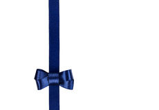 Blue satin ribbon tied in a bow isolated on white Royalty Free Stock Photos