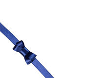 Blue satin ribbon tied in a bow isolated on white. Background Royalty Free Stock Photos