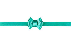 Blue satin ribbon tied in a bow isolated on white. Background Stock Photography