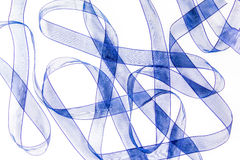 Blue satin ribbons Stock Images