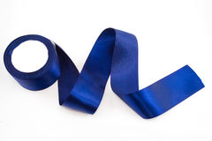Blue satin ribbons Stock Photo