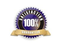 Blue Satisfaction Guaranteed 100%. Cool blue badge - Satisfaction Guaranteed 100 vector illustration