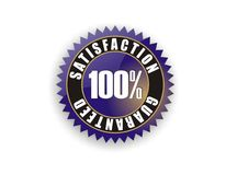 Blue Satisfaction Guaranteed 100%. Cool blue badge - Satisfaction Guaranteed 100 royalty free illustration