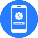 Blue save money and dollars sign design in a flat round button Stock Image