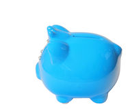 Blue saving pig isolated with clipping path. Stock Photo