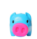 Blue saving pig isolated with clipping path. Stock Photos