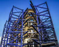 Blue scaffolding Stock Image